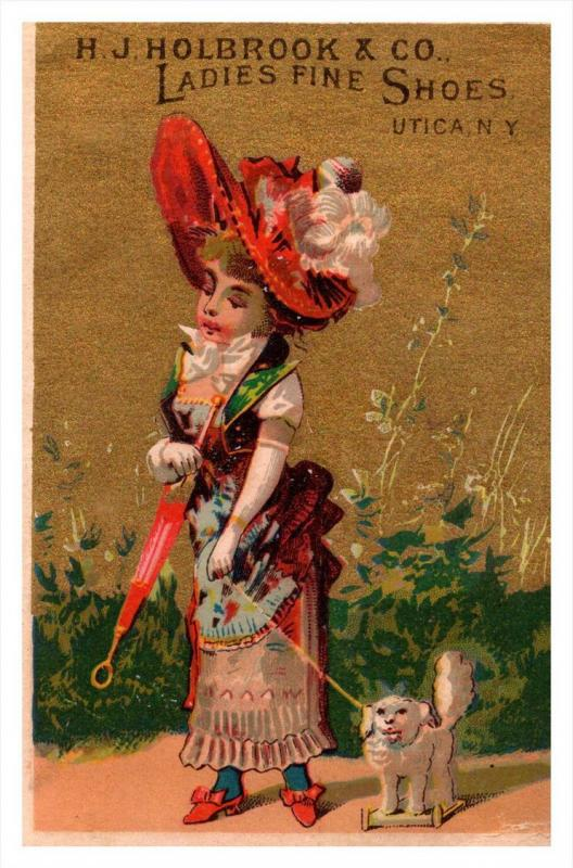 13441  Trade card  NY  Utica H.J.Holbrook Co. ladies fine Shoes ,  Victorian ...