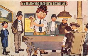 The Coming Champs Pool Billiards Postcard Carte Postale 1910 Missing Stamp