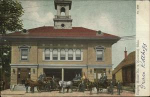 Norwood OH Fire Station Engine House c1910 Postcard