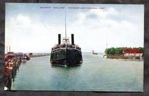 dc2018 - Steamer HOLLAND 1908 Postcard by Hammon. Saint Joseph Mich Flag Cancel
