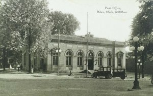 C.1910 Post Office, Niles, Mich. Cars Vintage Postcard F27