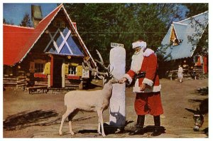 Du Nord Pôle, Santa & Blitzen At The Pôle Lac Calme Ny Carte Postale Expédié