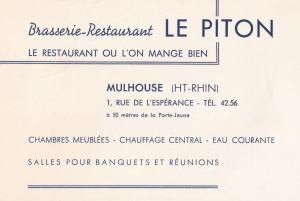 Le Piton Restaurant Hotel Mulhouse French Borders Advertising Card + 1950s Ci...