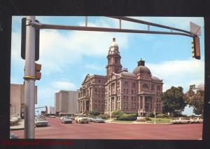 FORT WORTH TEXAS TARRANT COUNTY COURT HOUSE 1950's CARS VINTAGE POSTCARD