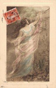 Beautiful Jugendstil Lady Vintage Postcard 06.65