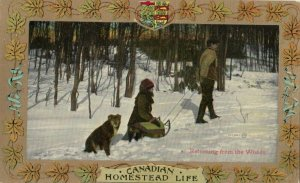 Homestead Life , Canada , 1900-10s ; Returning from the woods