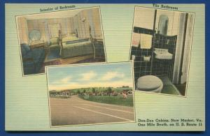 Don Dee Cabins New Market Virginia va old linen postcard #2