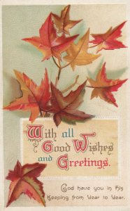 Good Wishes fall Leaves  , 1900-10s ; Clapsaddle