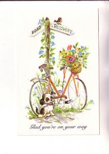 Puppy and Bicycle, Glad You're On Your Way, Vintage Get Well Postcard