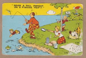 Comic Fishing Trip Linen Postcard Vacation Funny Humor