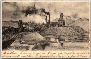 JOPLIN, Missouri Postcard ZINC AND LEAD MINE, Joplin District w/ 1906 Cancel