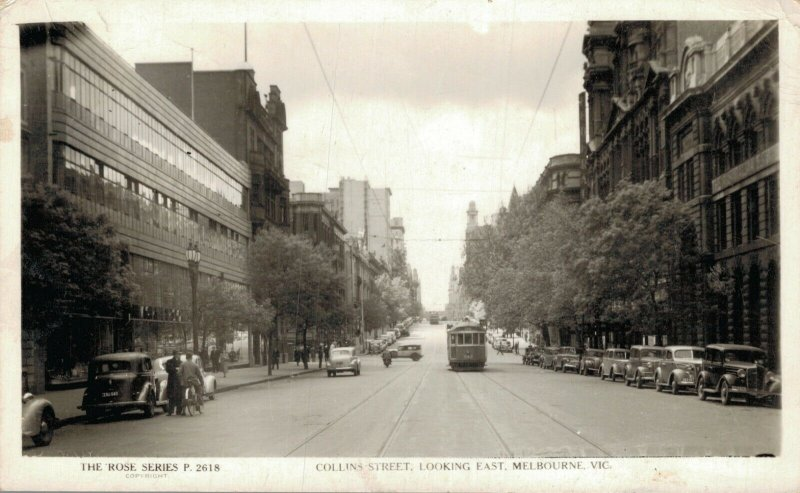 Australia Collins Street Looking East Melbourne RPPC 03.28