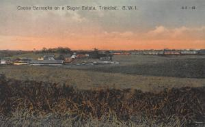 Coolie Barracks on a Sugar Estate, Trinidad, B.W.I., Early Postcard, Unused