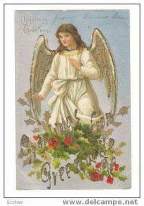 Christmas Greetings, Angel Standing On Holly, pre-1907