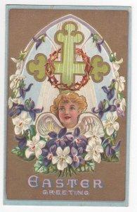 Easter Angel Cross Crown of Thorns Gold Vintage Embossed Chromo Postcard