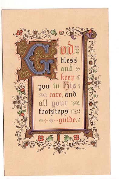 God Bless and Keep You Prayer, Greetings on Back, Hills & Co Series 5151e 'Fo...