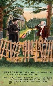 Bamforth No 4069 Old Men Thinking About Repairing Fence