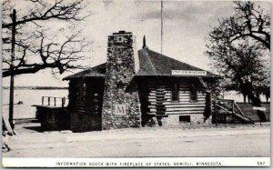 1950 Bemidji, Minnesota Postcard Information Booth with Fireplace of States