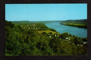OH Aerial View of OHIO River & GALLIPOLIS Postcard PC