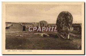Old Postcard Dolmen Menhir Carnac alignments Megalith