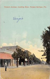 E5/ Tarpon Springs Florida Fl Postcard c1910 Avenue East Stores People