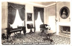 Bardstown Kentucky~Parlor of My Old Kentucky Home~Piano-Portraits-Fireplace~RPPC