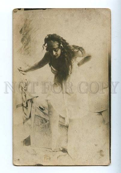 129819 BALLET DANCER w/ LONG HAIR Vintage PHOTO PC