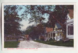 P882 old card broadway, northport camp grounds street scene horse & wagon maine