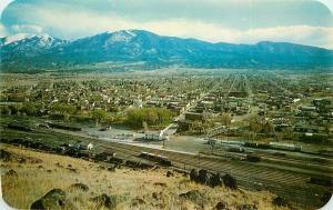 Autos Railroad 1950s Panorama Salida Colorado Postcard Dexter Sanborn 4160