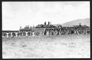 Ceremony Re-enactment at Teotihuacan MEXICO RPPC Unused c1940s