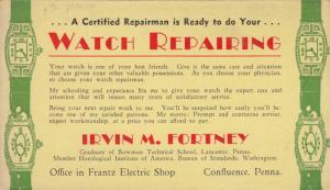 ADV: Wrist Watche repairs , 1930s ; Confluence , Pennsylvania, INKBLOTTER