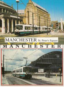 Manchester 1016 Tram Bus at St Peters Square G Max Centre 2x Postcard s