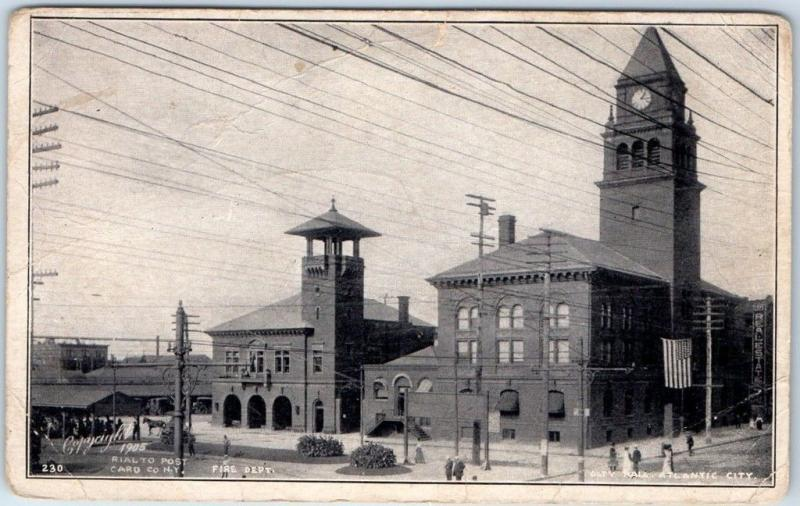 1905 Atlantic CITY, New Jersey Postcard FIRE DEPARTMENT & CITY HALL Street View