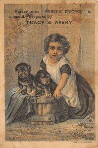 Sarica Coffee Victorian Trade Card Girl Puppies Mansfield Ohio Roaster