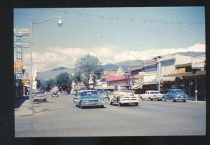 VERNON BRITISH COLUMBIA DOWNTOWN STREET SCENE OLD CARS PIOSTCARD COPY
