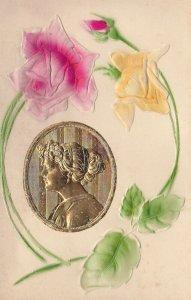 Metallic Art Nouveau Female Head bust & Rose flowers (Silk) , 00-10s