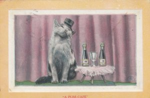 A Puss Cafe, Kitten wearing top hat, Little table, Champagne bottles, PU-1912