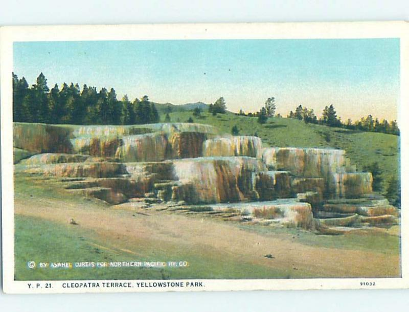 Unused W-Border CLEOPATRA TERRACE Yellowstone National Park Wyoming WY H2527
