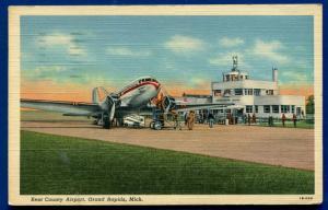 Grand Rapids Michigan mi Kent County Airport linen postcard