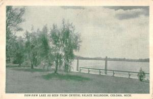 Coloma Michigan Paw Paw Lake from Crystal Palace ballroom antique pc ZA440391
