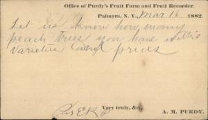 Palmayra NY Purdy's Fruit Farm 1882 Agriculture Postal Card