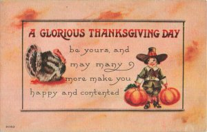 Circa 1918 Thanksgiving Boy Holding Pumpkins Turkey Postcard