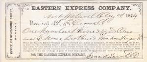 Eastern Express Co. Receipt 1874