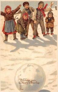 Christmas   Victorian Dressed  children  throwing snowballs