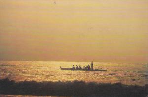 Fishermen at sunset , West Coast , LA UNION PROVINCE , Philippines , 50-70s