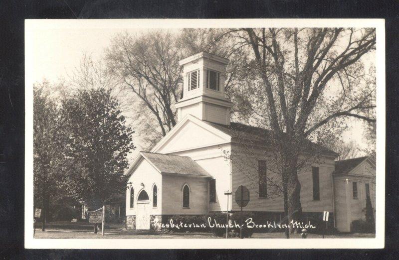 RPPC BROOKLYN MICHIGAN PRESBYTERIAN CHURCH VINTAGE REAL PHOTO POSTCARD
