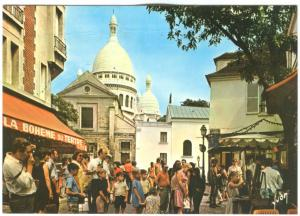 France, Paris, Le Sacre-Coeur et la Place du Tertre, 1989 used Postcard