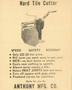 Vintage Hard Tile Cutter Anthony MFG Co Hiawatha Iowa Advertisement