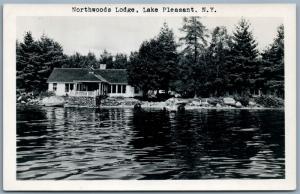 LAKE PLEASANT NY NORTHWOODS LODGE VINTAGE REAL PHOTO POSTCARD RPPC