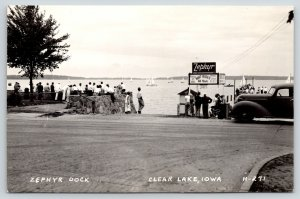 Clear Lake Iowa~Zephyr Dock Boat Rides All Hours~Observation Point~1940s RPPC